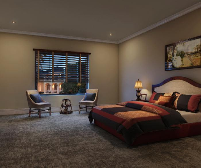 Luxury bedroom at Pacifica Senior Living Oceanside in Oceanside, California