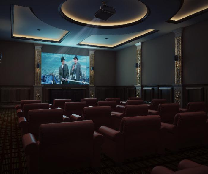 State-of-the-art movie theater at Pacifica Senior Living Oceanside in Oceanside, California