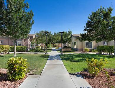 An exterior view of the beautiful campus at Pacifica Senior Living Green Valley
