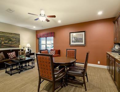 Dining table and living room at NewForest Estates in San Antonio, TX