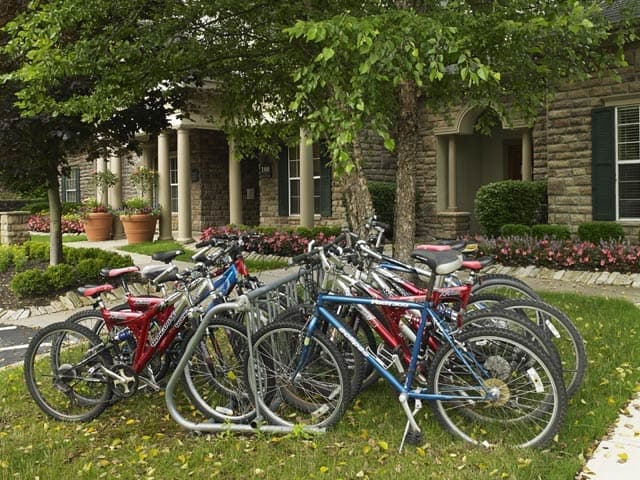 Bicycle parking is abundant at Highlands of Montour Run