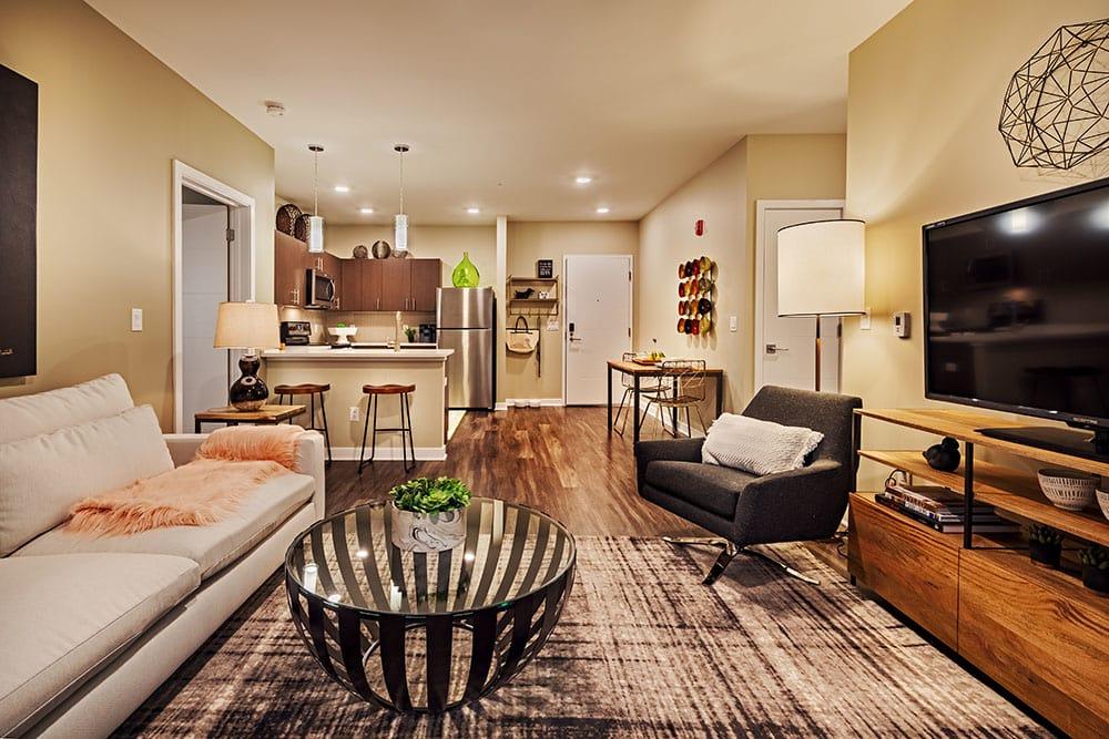 Beautiful living room at apartments in Pittsburgh, Pennsylvania