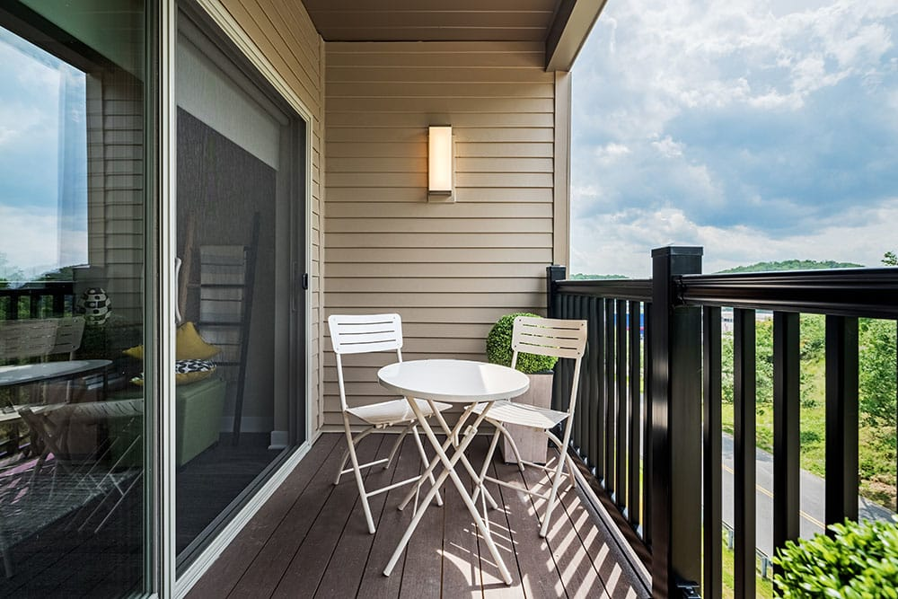 Private balcony at apartments in Pittsburgh, Pennsylvania
