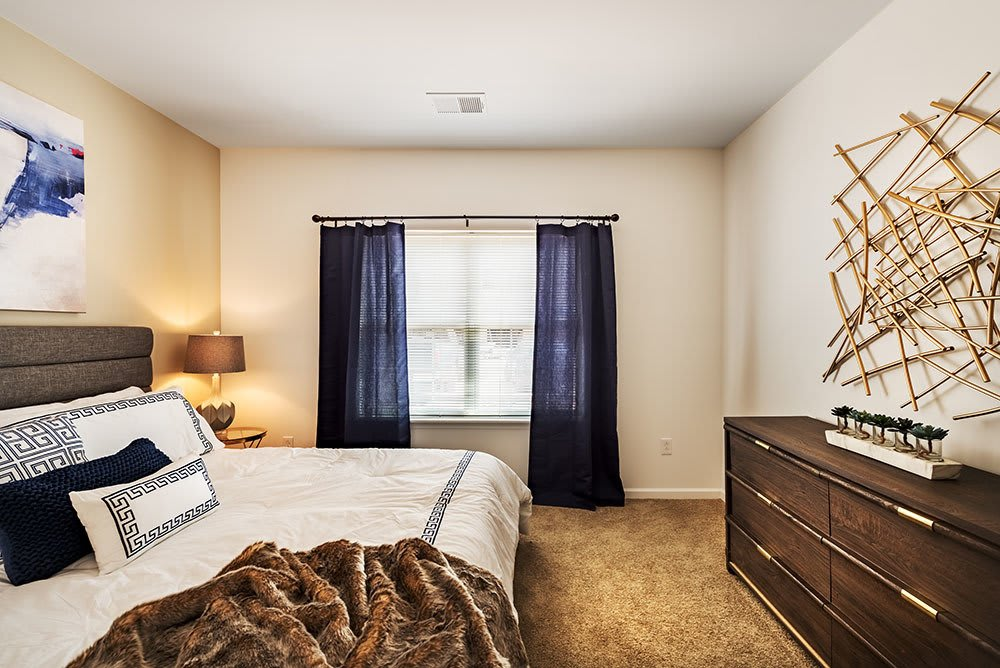 Model bedroom at The Kane at Gray's Landing in Aliquippa, PA