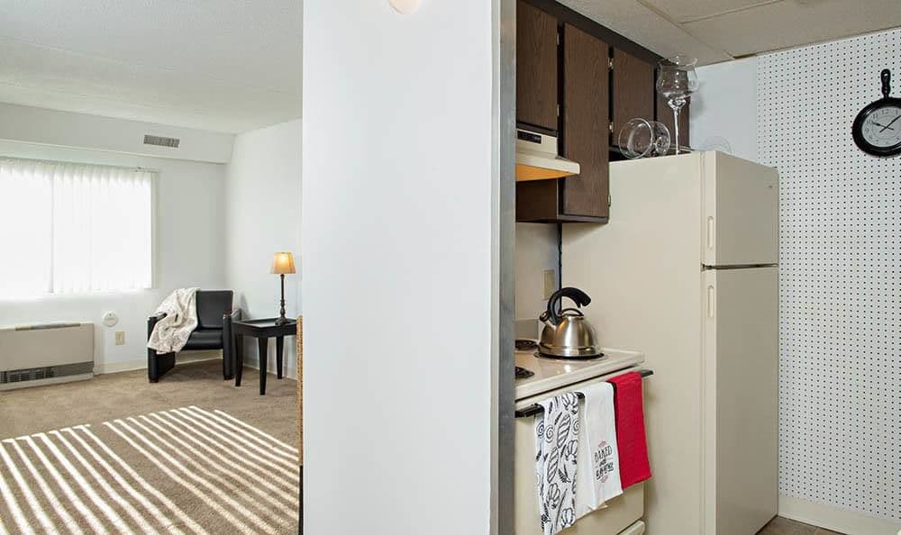 Kitchen and living room view at Park Guilderland Apartments in Guilderland Center