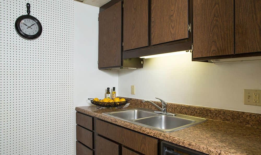 Kitchen sink at Park Guilderland Apartments in Guilderland Center