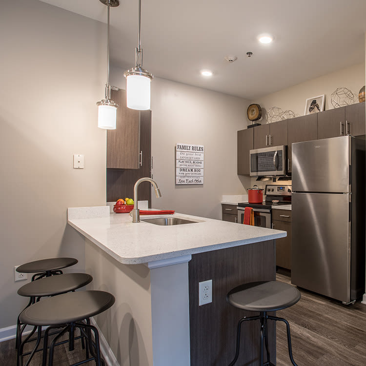Well-equipped kitchen at The Landings at Meadowood in Baldwinsville