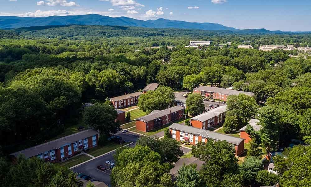 Aerial view of Sunset Garden Apartments community in Kingston, NY