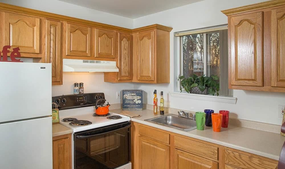 Full-equipped kitchen at Sunset Garden Apartments in Kingston, NY