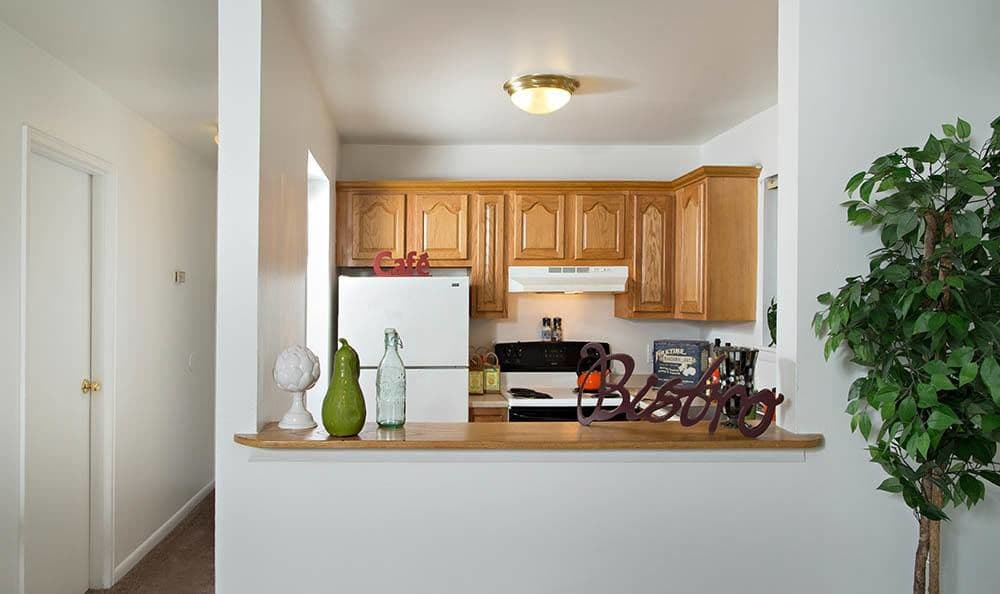 Upgraded kitchen at Sunset Garden Apartments in Kingston, NY