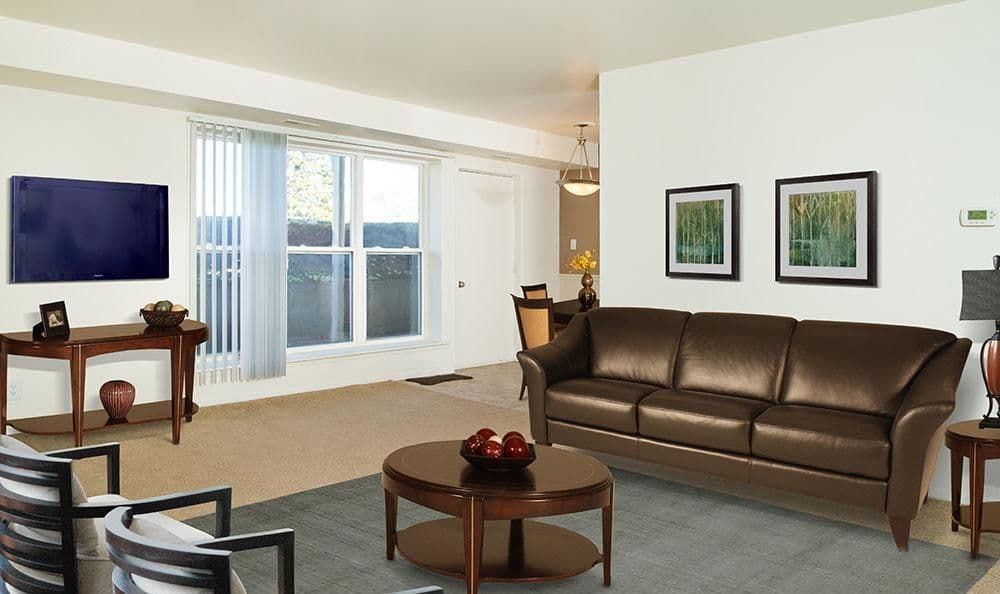 Spacious living room at Hillcrest Village in Niskayuna, NY