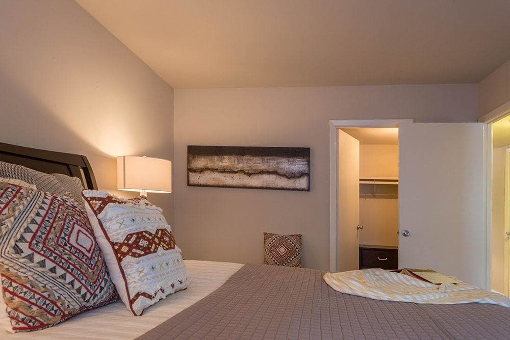 Cozy bedroom at Eagle's Crest Apartments in Harrisburg, PA