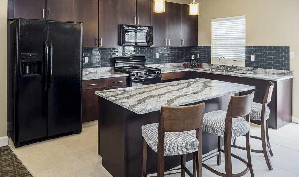Modern kitchen at The Lakes at 8201 in Merrillville, IN