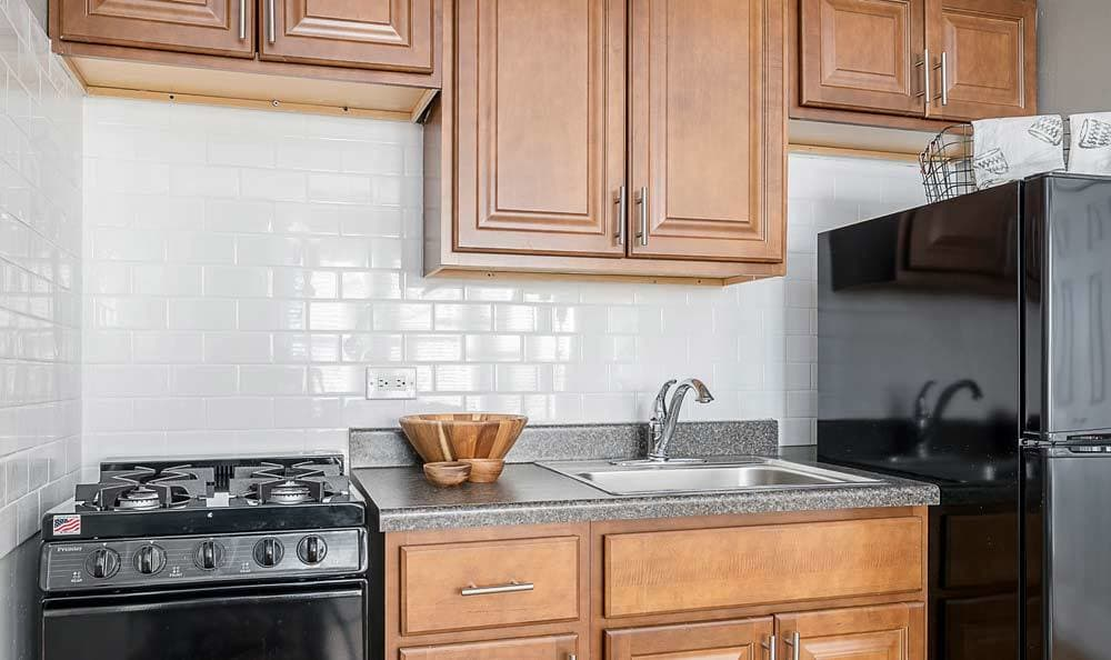 Bright kitchen at 7100 South Shore Drive Apartments in Chicago