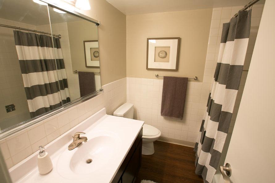 Bathroom at Deville Apartments in Beachwood, Ohio