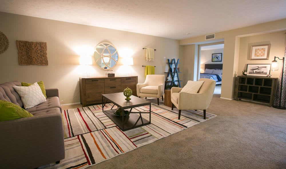 Well decorated living room at Deville Apartments in Beachwood