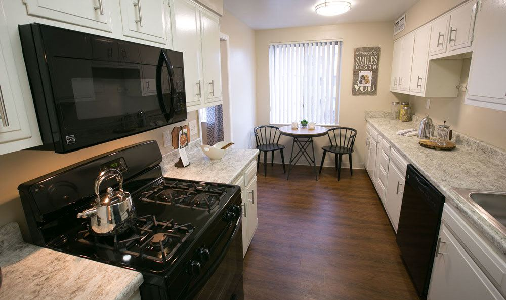 Modern kitchen at Deville Apartments in Beachwood