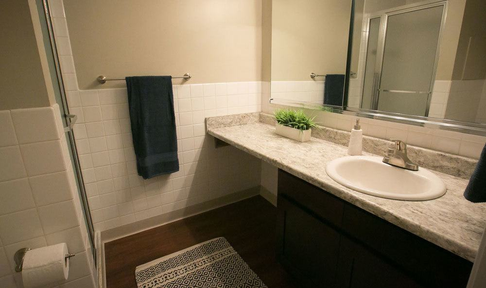 Bathroom at Deville Apartments in Beachwood