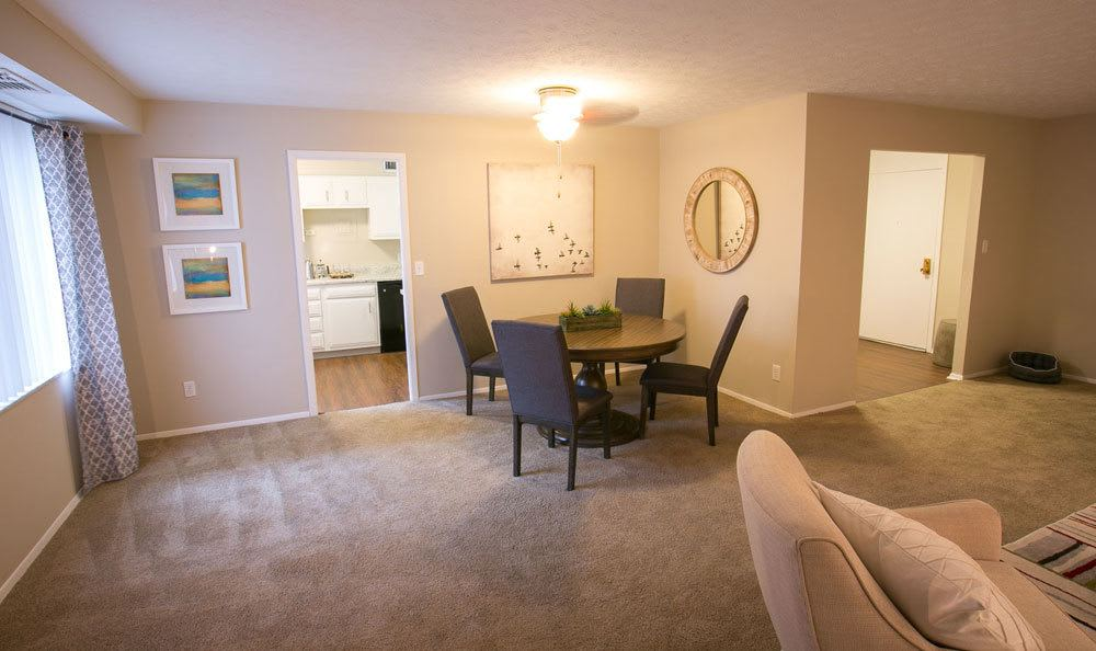 Spacious dining area at Deville Apartments in Beachwood