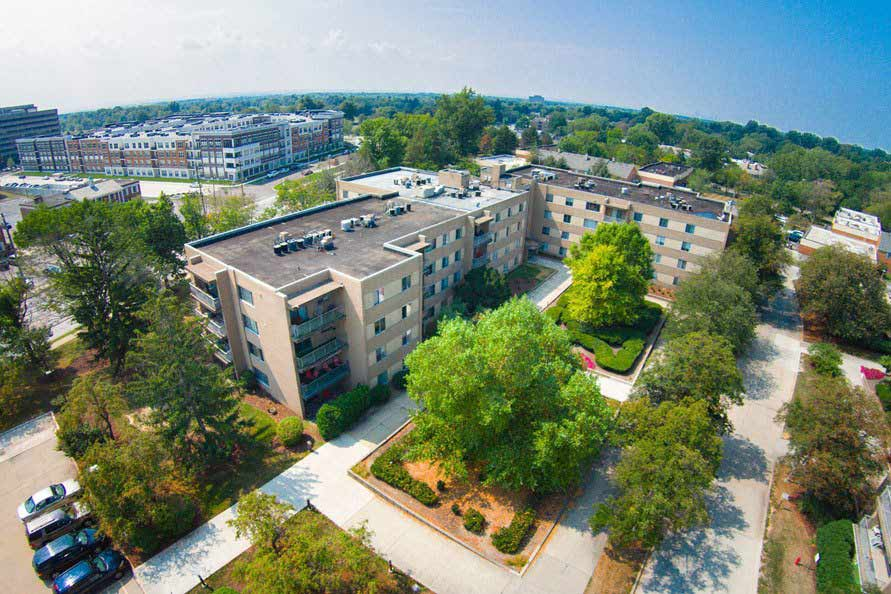 Aerial view of the community at Deville Apartments in Beachwood
