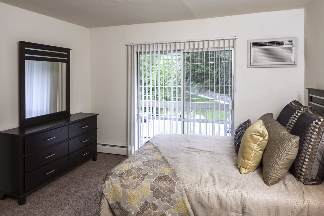 Bedroom with deck access at Lakeshore Drive
