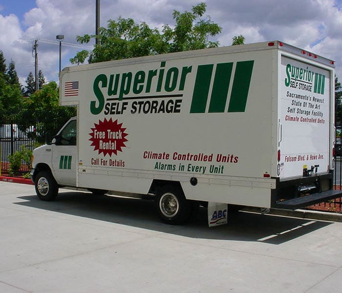 Moving truck at Superior Self Storage in Sacramento