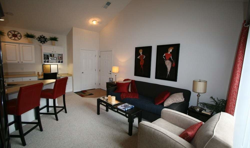 Well decorated living room at Preston Gardens in Perrysburg