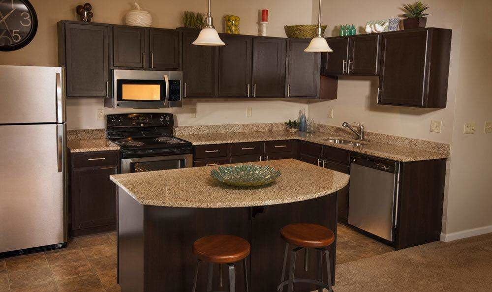 Modern kitchen at Rochester Village Apartments at Park Place in Cranberry Township