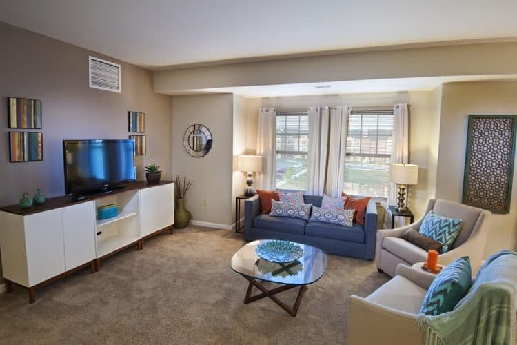 Beautiful living room at Rochester Village Apartments at Park Place in Cranberry Township, Pennsylvania