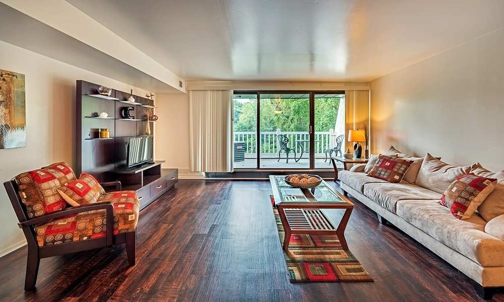 Luxury living room at The Cascades Townhomes and Apartments in Pittsburgh