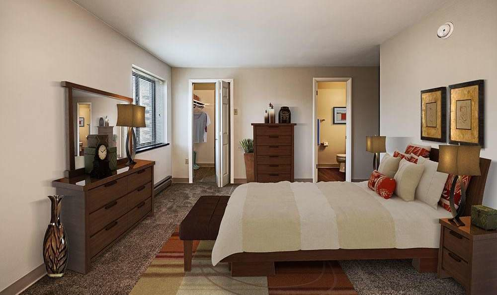 Cozy bedroom at Maiden Bridge and Canongate Apartments in Pittsburgh