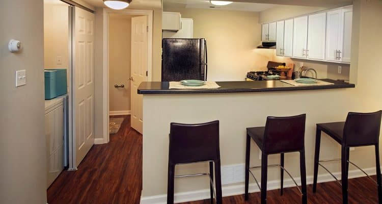 Dining area and kitchen at Nineteen North Apartments