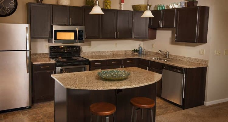 Modern kitchen at Rochester Village Apartments at Park Place