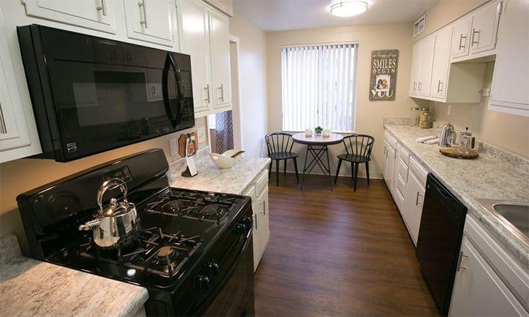 Modern kitchen at Deville Apartments in Beachwood, Ohio