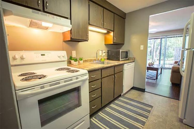 Modern kitchen at Whitewood Apartments
