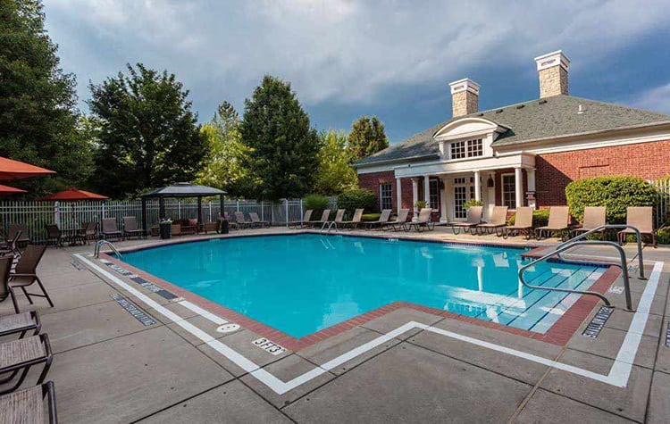 Gorgeous swimming pool area at Christopher Wren Apartments in Wexford, PA