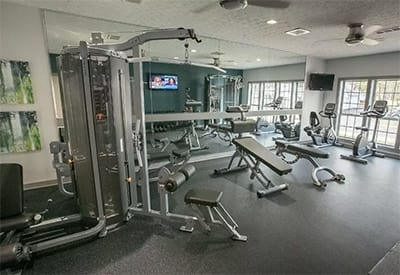 Well-equipped fitness center at Hunter's Chase Apartments in Westlake