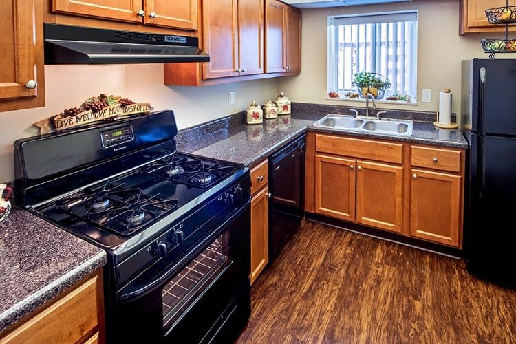 Full-equipped kitchen at Avalon Arms Apartments in Avalon, PA