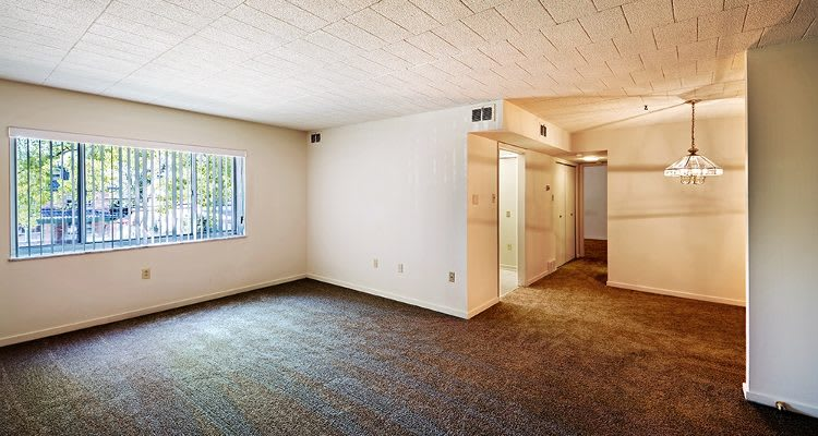 Open floor plan spaces at Avalon Arms Apartments in Avalon, Pennsylvania