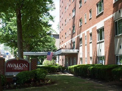 Exterior view of apartment building at Avalon Arms Apartments in Avalon