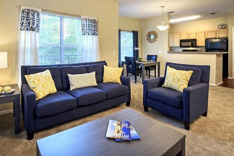 Beautifully designed living room at Morgan at North Shore
