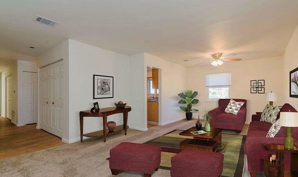 Spacious living room at Eagle Meadows Apartments in Dover