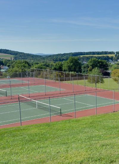 Tennis courts at Lion's Gate in Red Lion, Pennsylvania