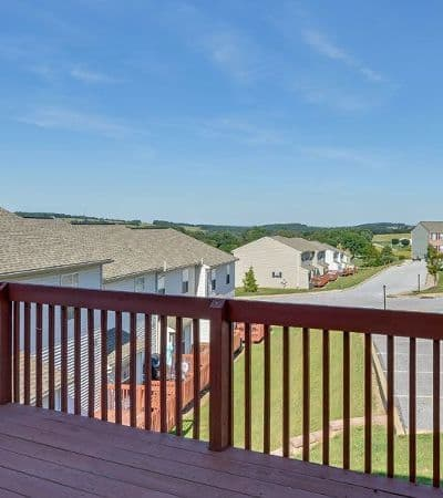 Lion's Gate Townhomes balcony view in Red Lion, PA