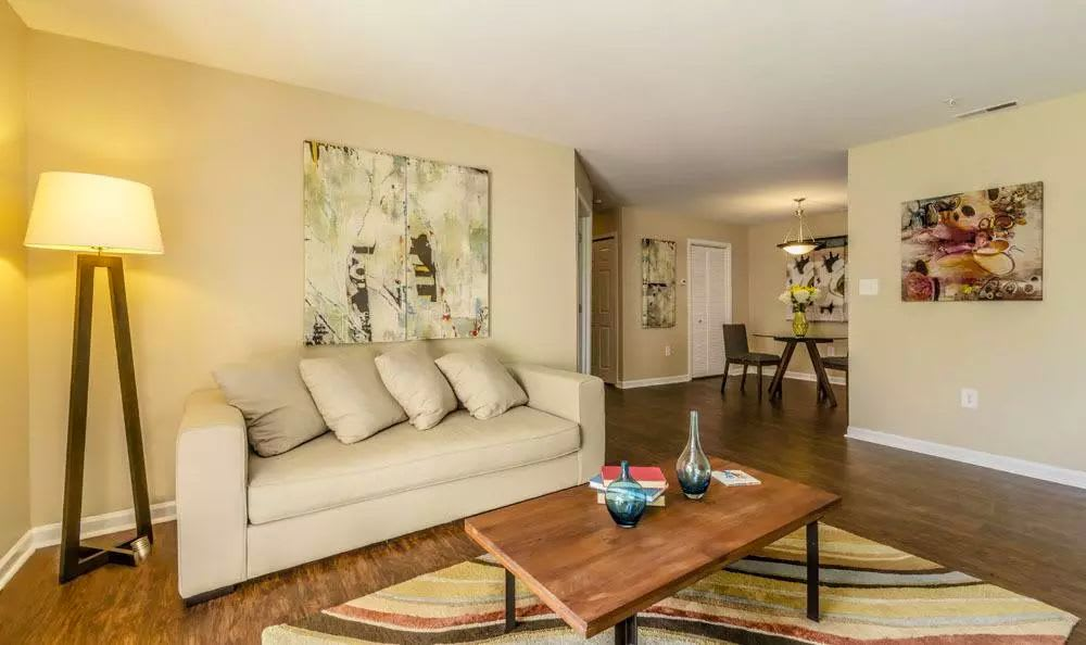 Modern living room at The Lakes at 8201 in Merrillville