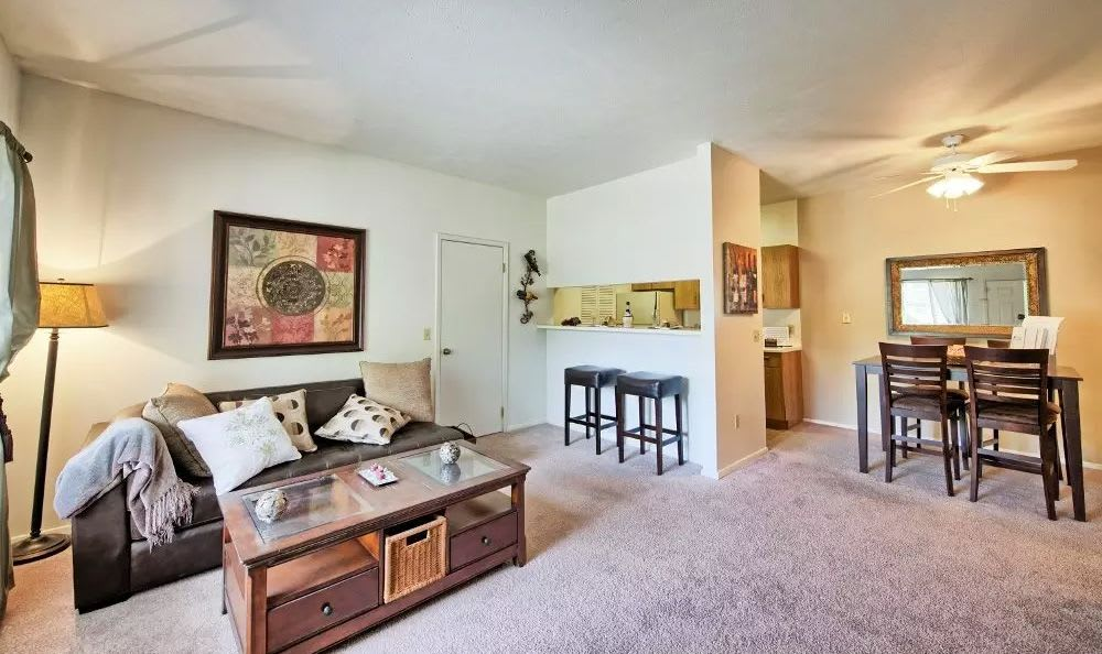 Spacious living room at Perry's Crossing Apartments in Perrysburg