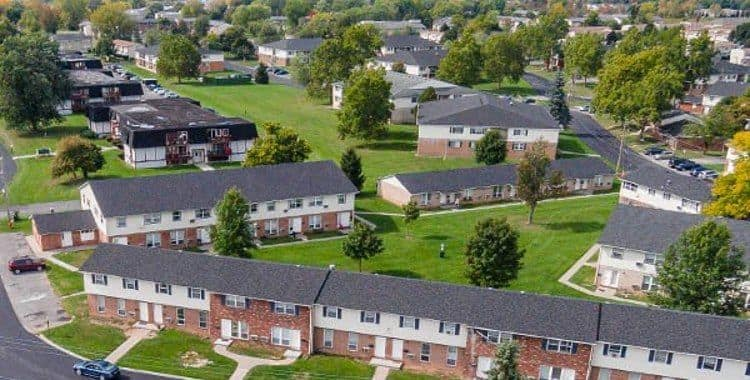 Aerial view of Brookwood on the Green community situated in Liverpool, NY
