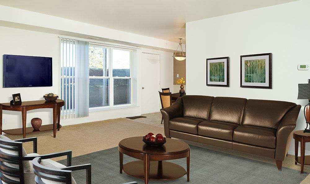 Spacious living room at Hillcrest Village in Niskayuna