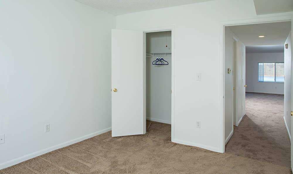Closet in bedroom at Lakeshore Villas in Port Ewen