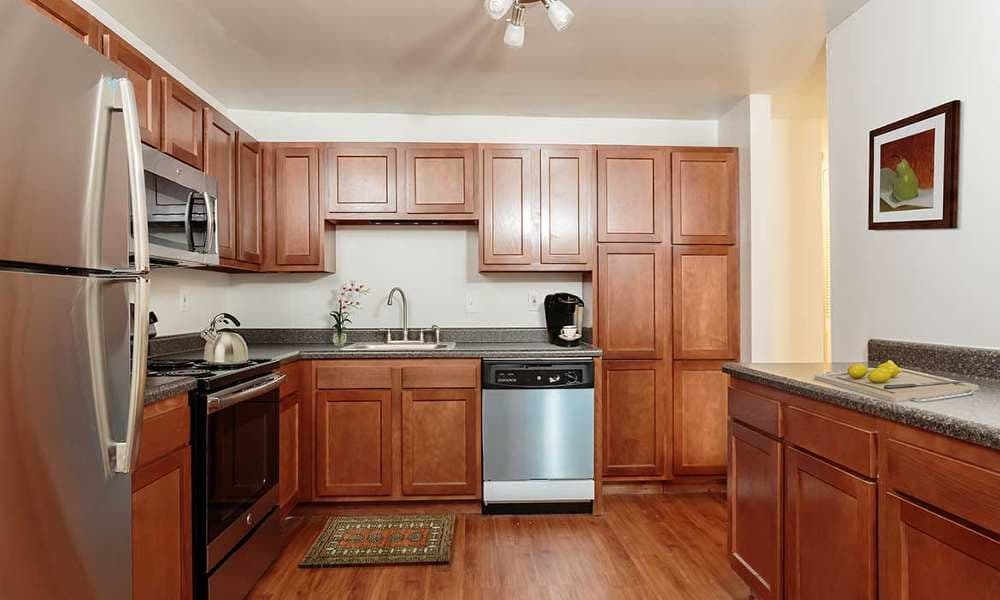 Beautifully designed kitchen at Meadowbrook Apartments in Slingerlands